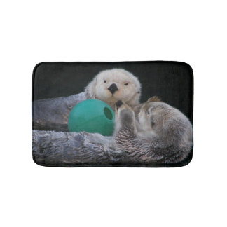Playful Sea Otters Photo Bathroom Mat