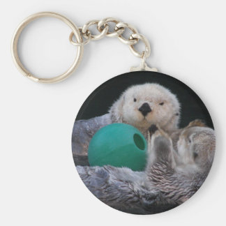 Playful Sea Otters Photo Keychain