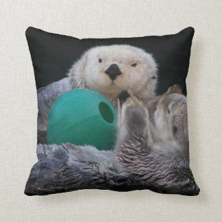 Playful Sea Otters Photo Square Throw Pillow