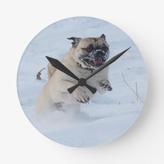 Playful Snow Pug Dog Round Clock