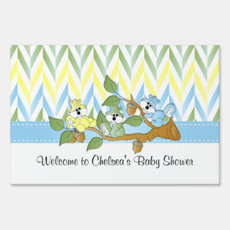 Playful Squirrel Baby Boy Shower Theme - Welcome Sign