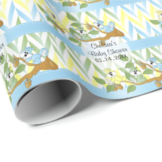 Playful Squirrel Baby Boy Shower Theme Wrapping Paper