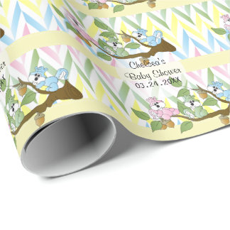 Playful Squirrel Baby Girl Shower Theme Wrapping Paper