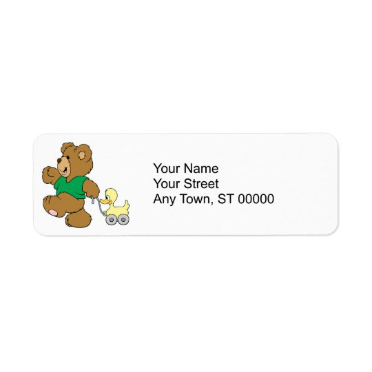 playful teddy bear with toy ducky return address label
