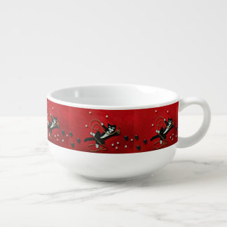 Playful Tuxedo Cat on Red Soup Mug with Handle