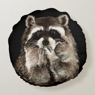 Playful Watercolor Raccoon Animal Blowing kisses Round Pillow