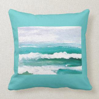 Playful Waves Ocean Waves Beach Decor Pillow 4e