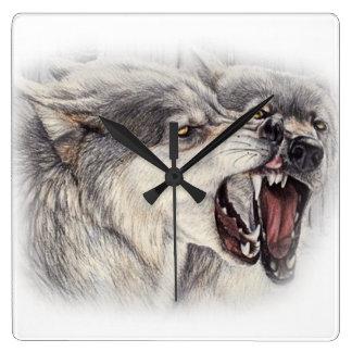 Playful Wolves Clock