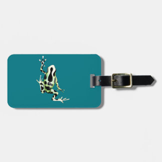 Playfully Adorable Black & Green Watercolor Frog Luggage Tag