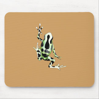 Playfully Adorable Black & Green Watercolor Frog Mouse Pad