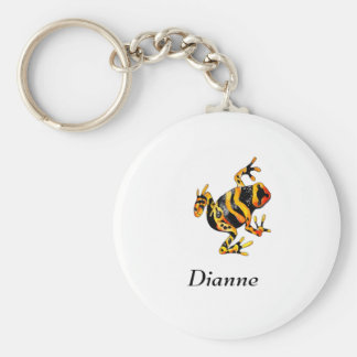 Playfully Adorable Black & Orange Watercolor Frog Basic Round Button Keychain