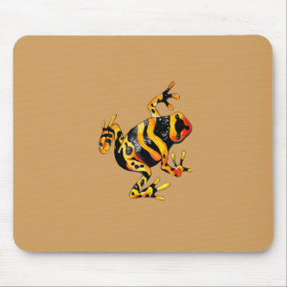 Playfully Adorable Black & Orange Watercolor Frog Mouse Pad