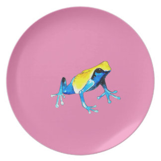 Playfully Adorable Blue & Yellow Watercolor Frog Party Plate