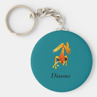 Playfully Adorable Orange & Yellow Watercolor Frog Basic Round Button Keychain