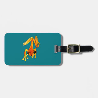 Playfully Adorable Orange & Yellow Watercolor Frog Luggage Tag
