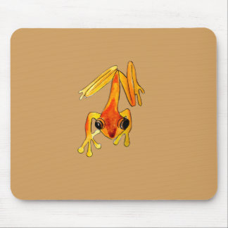Playfully Adorable Orange & Yellow Watercolor Frog Mouse Pad