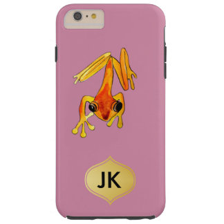 Playfully Adorable Orange & Yellow Watercolor Frog Tough iPhone 6 Plus Case