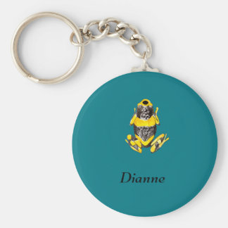 Playfully Adorable Yellow & Black Watercolor Frog Basic Round Button Keychain
