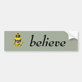 Playfully Adorable Yellow & Black Watercolor Frog Bumper Sticker