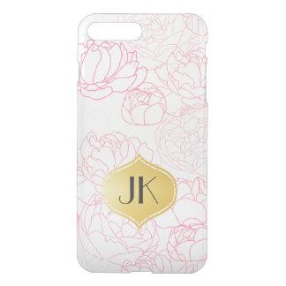 Playfully Beautiful Peonies Gold Monogram iPhone 8 Plus/7 Plus Case