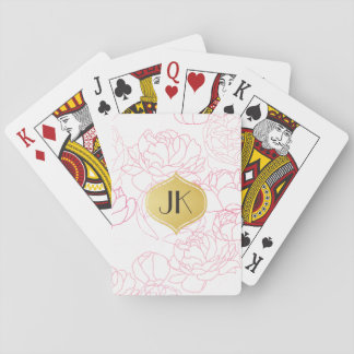 Playfully Beautiful Peonies Gold Monogram Playing Cards