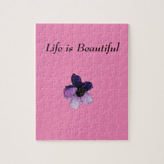Playfully Beautiful Purple Pink Floral Watercolor Puzzles