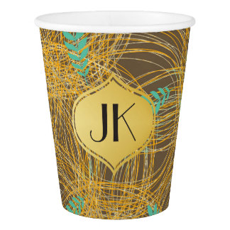 Playfully Cool Floral Gold Monogram Paper Cup