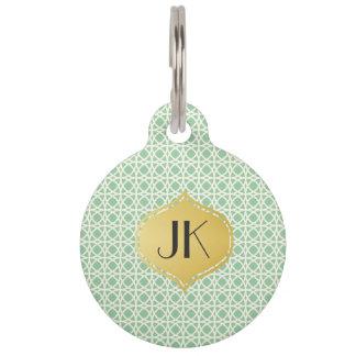 Playfully Cool Geometric Shapes Gold Monogram Pet Name Tag