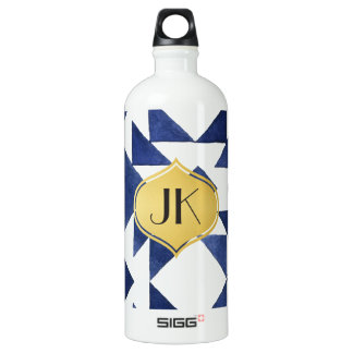 Playfully Cool Geometric Watercolor Gold Monogram Water Bottle