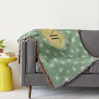 Playfully Cool Hand Drawn Pattern Gold Monogram Throw Blanket