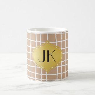 Playfully Cool Lines Gold Monogram Coffee Mug