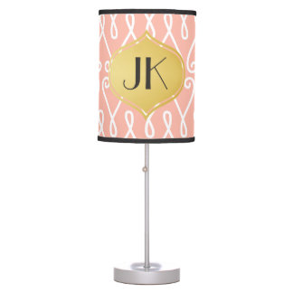Playfully Cool Lines Gold Monogram Table Lamp
