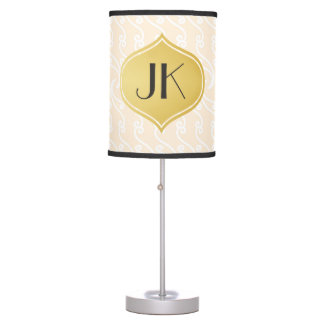 Playfully Cool Lines Gold Monogram Table Lamps