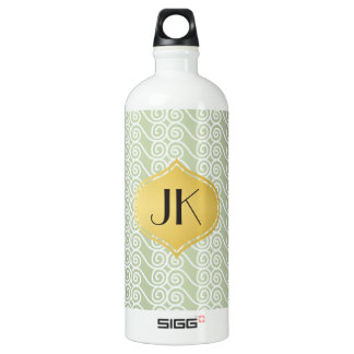 Playfully Cool Lines Gold Monogram Water Bottle