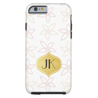 Playfully Cool Romantic Pattern Gold Monogram Tough iPhone 6 Case