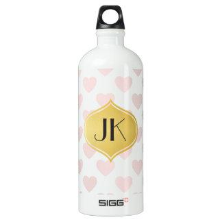Playfully Cool Romantic Pattern Gold Monogram Water Bottle