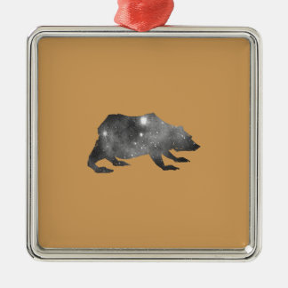 PLAYFULLY COOL UNIVERSE BEAR Silver-Colored SQUARE ORNAMENT