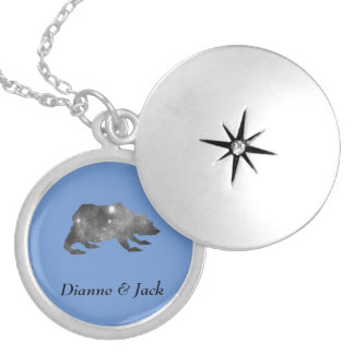 PLAYFULLY COOL UNIVERSE BEAR SILVER PLATED NECKLACE