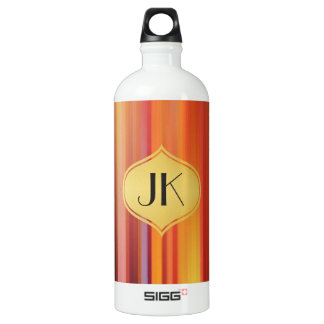 Playfully Cool Vibrant Rays Monogram No. [60] Water Bottle