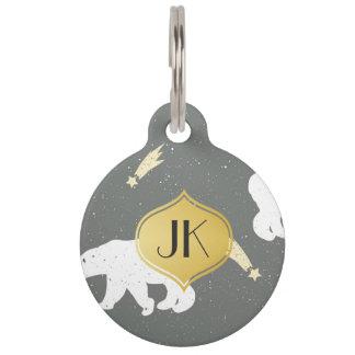 Playfully Cool Winter Pattern Gold Monogram Pet Name Tag