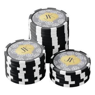 Playfully Cool Winter Pattern Gold Monogram Poker Chip Set