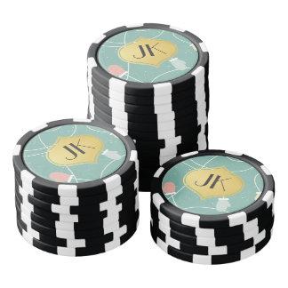 Playfully Cool Winter Pattern Gold Monogram Poker Chips