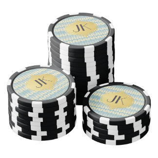 Playfully Cool Winter Pattern Gold Monogram Poker Chips