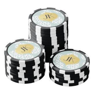 Playfully Cool Winter Pattern Gold Monogram Poker Chips Set