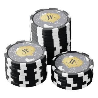 Playfully Cool Winter Pattern Gold Monogram Set Of Poker Chips