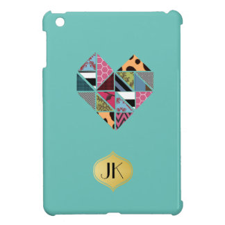 Playfully Creative Geometric Unique Collaged Heart iPad Mini Cases