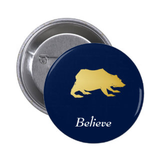 Playfully Elegant Hand Drawn Gold Actionable Bear 2 Inch Round Button