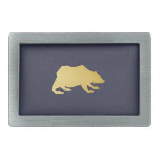 Playfully Elegant Hand Drawn Gold Actionable Bear Belt Buckle