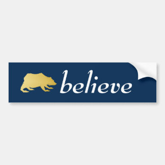 Playfully Elegant Hand Drawn Gold Actionable Bear Bumper Sticker