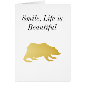 Playfully Elegant Hand Drawn Gold Actionable Bear Card